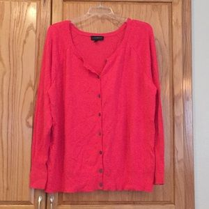 26/28 bright coral button front cardigan Plus